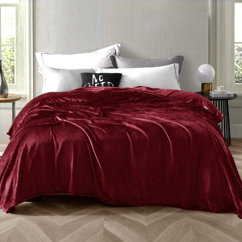 Giselle Bedding Faux Mink Blanket Winter Quilt Doona Fleece Throw Rug Red King