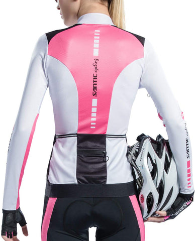 Cycling Jersey Women's Long Sleeve Tops Bike Shirts Bicycle Jacket with Pockets
