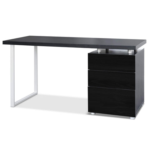Image of Artiss Metal Desk with 3 Drawers - Black