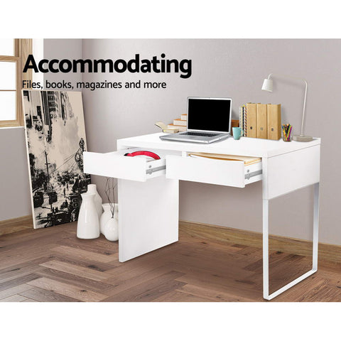 Image of Artiss Metal Desk with 2 Drawers - White