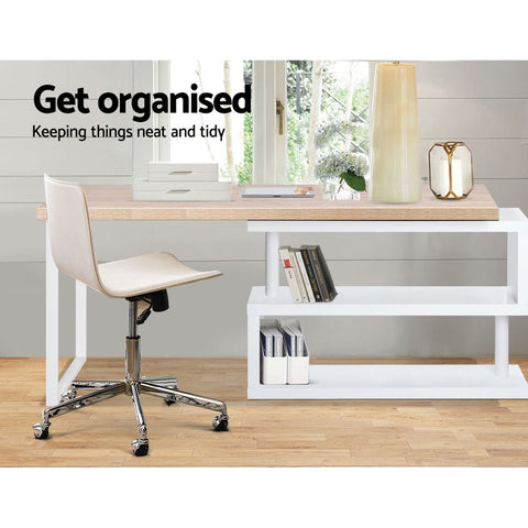 Image of Artiss Rotary Corner Desk with Bookshelf - Brown & White