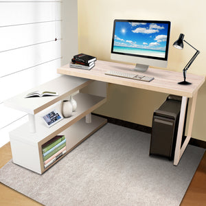 Artiss Rotary Corner Desk with Bookshelf - Brown & White