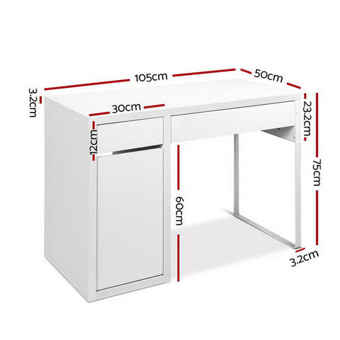 Image of Artiss Metal Desk With Storage Cabinets - White