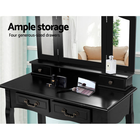 Image of Artiss Dressing Table with Mirror - Black