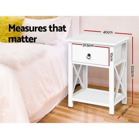 Image of Artiss Bedside Tables Drawers Side Table Nightstand Lamp Chest Unit Cabinet x2