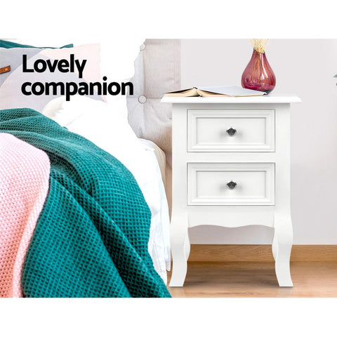 Image of Artiss Bedside Tables Drawers Side Table French Storage Cabinet Nightstand Lamp