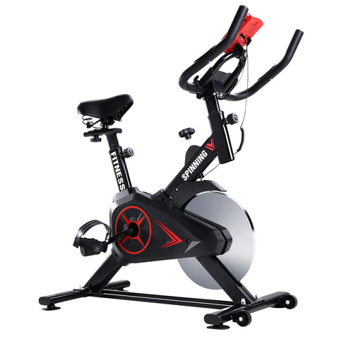 Image of Spin Exercise Bike Flywheel Fitness Commercial Home Workout Gym Phone Holder Black