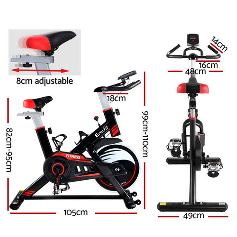 Image of Spin Exercise Bike Fitness Commercial Home Gym Workout Cardio Equipment Black - Everfit