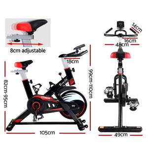 Spin Exercise Bike Fitness Commercial Home Gym Workout Cardio Equipment Black - Everfit