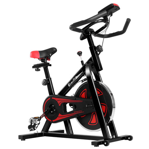 Image of Everfit Spin Exercise Bike Cycling Fitness Commercial Home Workout Gym Equipment Black