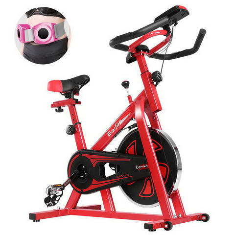 Image of Everfit Spin Exercise Bike Cycling Fitness Commercial Home Workout Gym Equipment Red