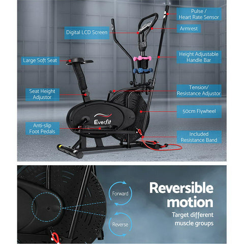 Image of Everfit 6in1 Elliptical Cross Trainer Exercise Bike Bicycle Home Gym Fitness Machine Running Walking