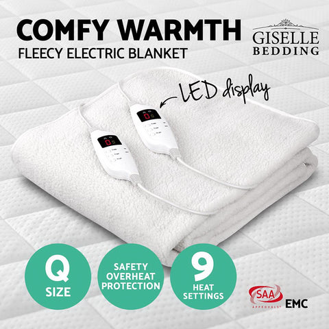 Image of Giselle Bedding 9 Setting Fully Fitted Electric Blanket - Queen