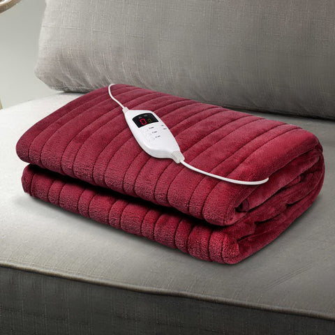 Image of Giselle Bedding Electric Throw Blanket - Burgundy