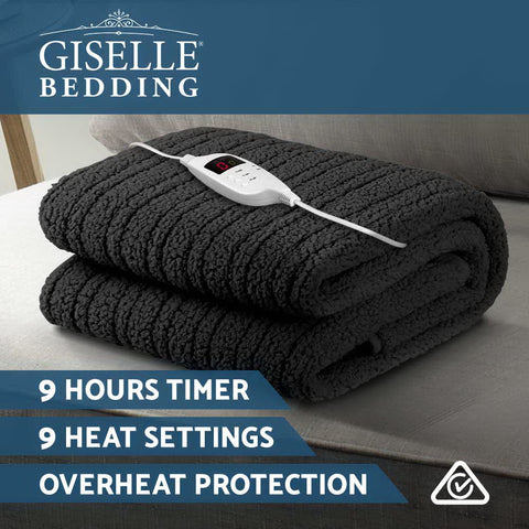 Image of Giselle Bedding Electric Heated Throw Rug Washable Fleece Snuggle Blanket Charcoal