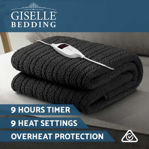 Giselle Bedding Electric Heated Throw Rug Washable Fleece Snuggle Blanket Charcoal