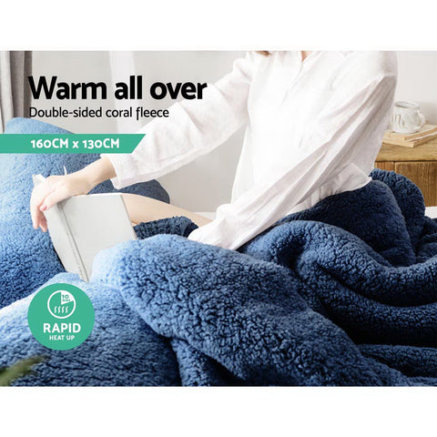 Image of Giselle Bedding Electric Heated Throw Rug Washable Fleece Snuggle Blanket Midenight Blue