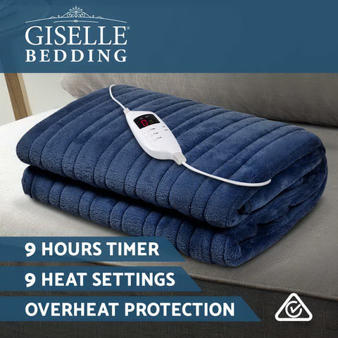 Image of Giselle Bedding Electric Throw Blanket - Navy