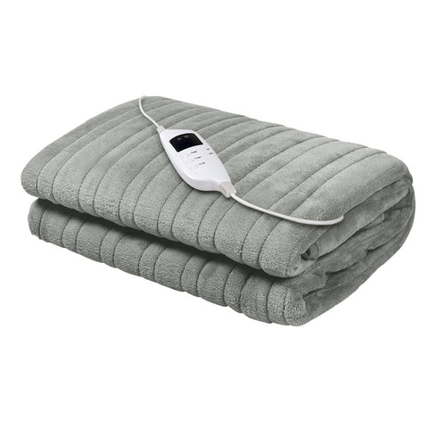 Image of Giselle Bedding Heated Electric Throw Rug Fleece Sunggle Blanket Washable Silver