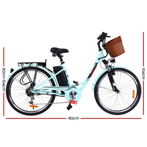 Phoenix 26 Electric Bike eBike e-Bike Bicycle City Battery Motorized with Basket Blue""