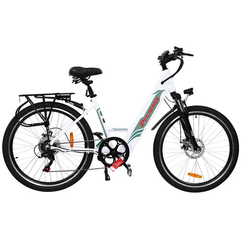 "Image of Phoenix 26"" Electric Bike eBike e-Bike Mountain Bicycle City Battery Motorized White"