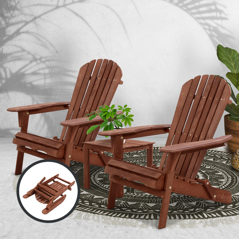 Image of Gardeon 3PC Outdoor Setting Beach Chairs Table Wooden Adirondack Lounge Garden