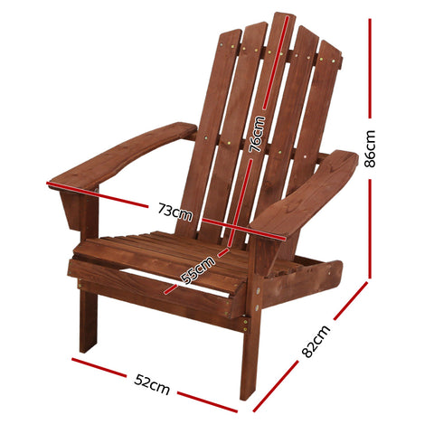 Image of Gardeon Outdoor Sun Lounge Beach Chairs Table Setting Wooden Adirondack Patio Brown Chair