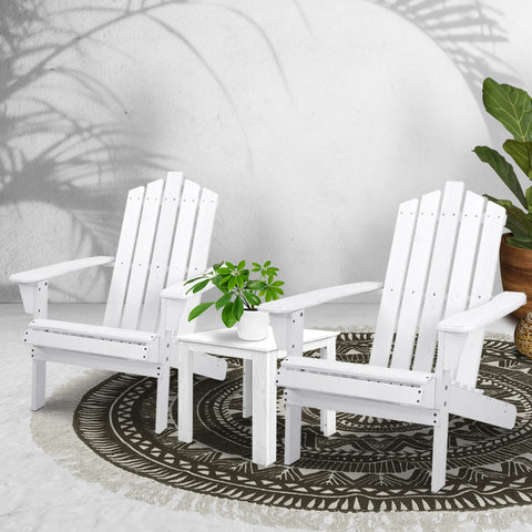 Image of Gardeon Outdoor Sun Lounge Beach Chairs Table Setting Wooden Adirondack Patio Chair White