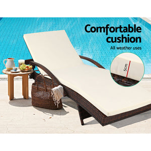 Gardeon 2pc Sun Lounge Outdoor Furniture Day Bed Rattan Wicker Lounger Patio