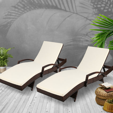 Image of Gardeon 2pc Sun Lounge Outdoor Furniture Day Bed Rattan Wicker Lounger Patio