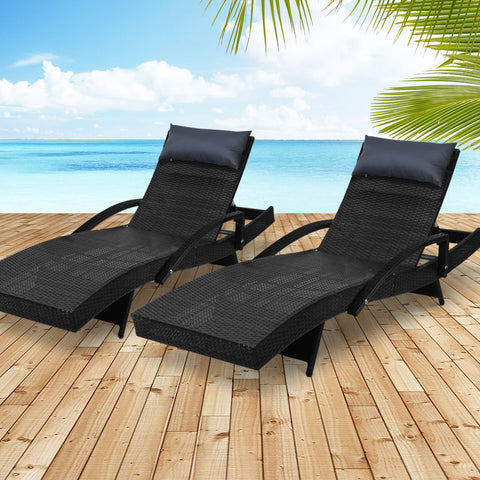 Image of Gardeon Sun Lounge Outdoor Furniture Wicker Lounger Rattan Day Bed Garden Patio Black