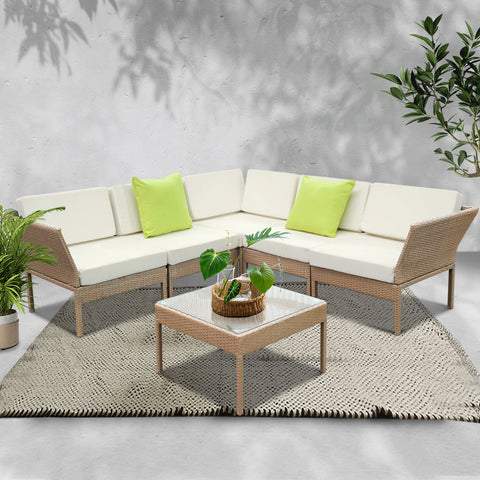 Image of Gardeon 6pcs Outdoor Sofa Lounge Setting Couch Wicker Table Chairs Patio Furniture Beige