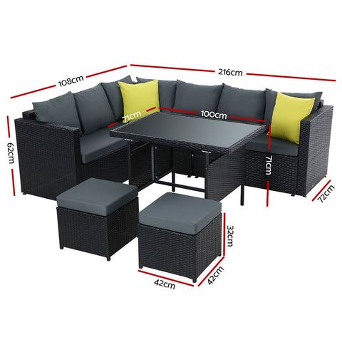 Gardeon Outdoor Furniture Patio Set Dining Sofa Table Chair Lounge Wicker Garden Black