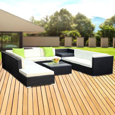 Image of Gardeon 11PC Sofa Set with Storage Cover Outdoor Furniture Wicker
