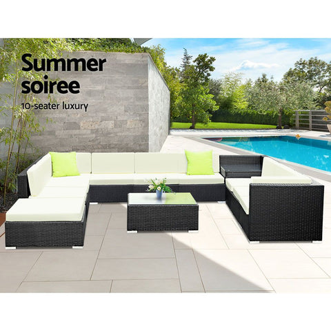 Image of Gardeon 12PC Sofa Set with Storage Cover Outdoor Furniture Wicker