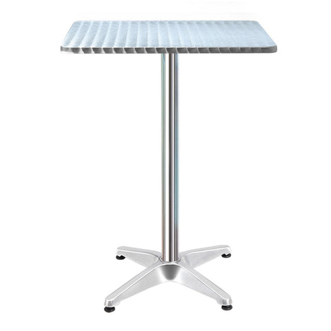 Image of Bar Table Outdoor Furniture Adjustable Aluminium Pub Cafe Indoor Square Gardeon