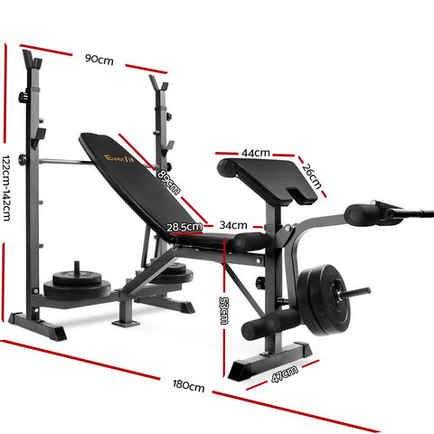 Image of Everfit Multi-Station Weight Bench Press Fitness 58KG Barbell Set Incline Black
