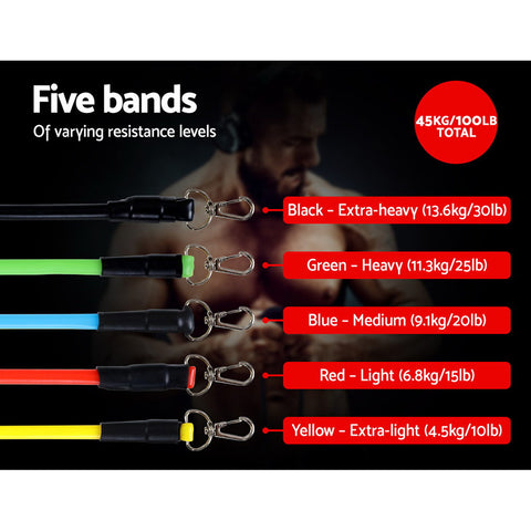 Resistance Bands Workout 11 PCS  Exercises Tube Band Set Yoga Pilates Abs Exercise Fitness