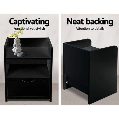 Image of Artiss Bedside Table Drawer - Black