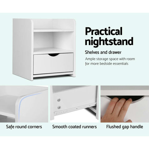 Image of Artiss Bedside Table Drawer - White
