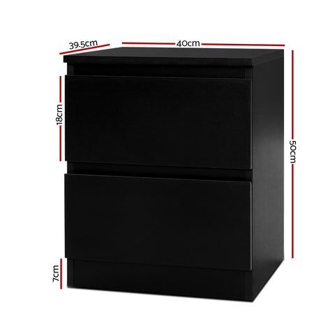 Image of Artiss Bedside Tables Drawers Side Table Bedroom Furniture Nightstand Black Lamp