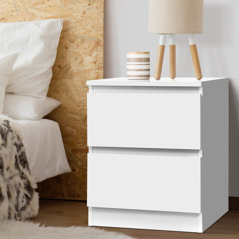 Image of Artiss Bedside Table Cabinet Lamp Side Tables Drawers Nightstand Unit White