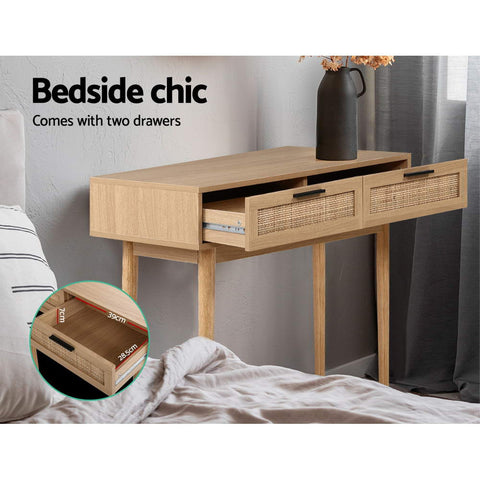 Image of Artiss Rattan Console Table Drawer Storage Hallway Tables Drawers