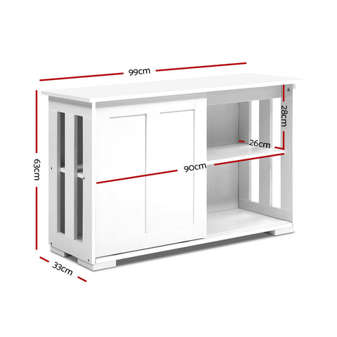 Image of Artiss Buffet Sideboard Cabinet White Doors Storage Shelf Cupboard Hallway Table White