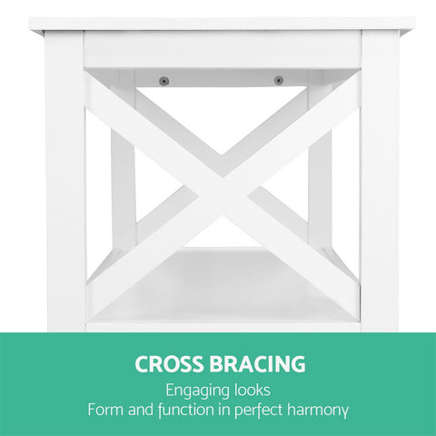 Image of Artiss Wooden Storage Console Table - White