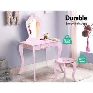 Keezi Kids Vanity Dressing Table Stool Set Mirror Drawer Children Makeup Pink