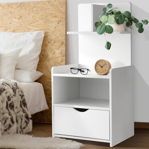 Image of Artiss Bedside Table Cabinet Shelf Display Drawer Side Nightstand Unit Storage