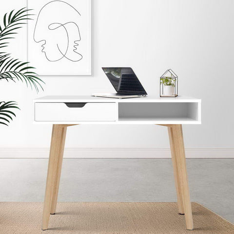 Image of Artiss Wood Computer Desk with Drawers - White