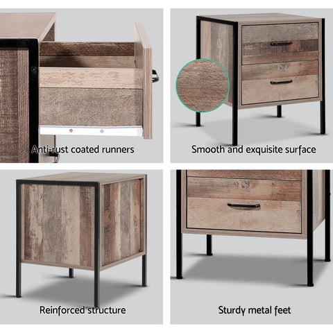 Image of Artiss Bedside Table Drawers Nightstand Metal Oak