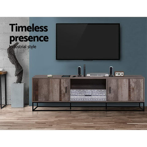 Image of Artiss TV Cabinet Entertainment Unit Stand Storage Wooden Industrial Rustic 180cm